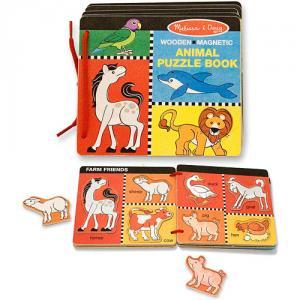 Cartea din Lemn cu Animale Magnetice