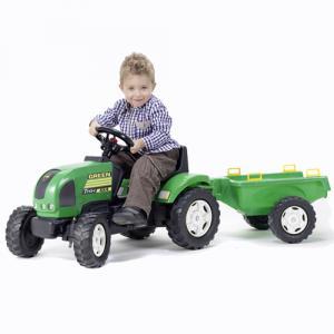 Tractor Verde cu Pedale si Remorca