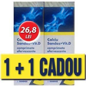 Calciu Sandoz cu Vit. D - 10 comprimate efervescente (PROMO 1 + 1 cutie CADOU)