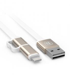 Baseus Cablu Lightning Dual Port iPhone 6, 5s, 5c Gold
