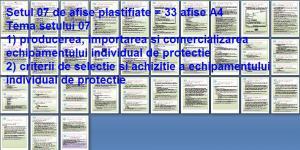 Set 7 afise tematice SSM – Cerinte minime SSM privind producerea si comercializarea echipamentelor individuale de protectie