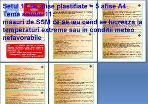 Set 11 afise tematice SSM – Cerinte minime SSM privind activitatile lucrative ce se desfasoara in conditii meteo extreme