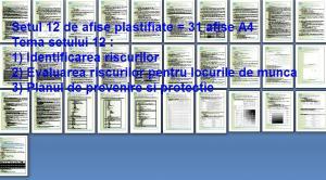 Set 12 afise tematice SSM – Cerinte minime SSM privind identificarea si evaluarea riscurilor SSM. Planul de prevenire si protectie.