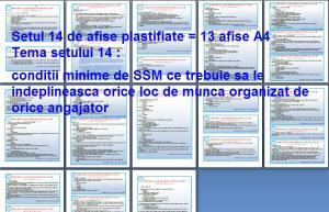 Set 14 afise tematice SSM – Cerinte minime SSM privind locul de munca