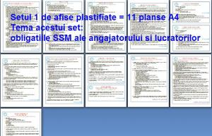 Set afise SSM - 11 afise A4 cu obligatiile si raspunderile angajatorilor  si angajatilor pe domeniul SSM