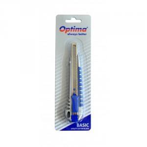 Cutter basic Optima, lama 9mm SK5, sina metalica, aluminiu cu rubber grip