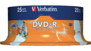 DVD-R Verbatim SL 16X 4.7GB 25PK Spindle Wide Inkjet Printable ID Brand