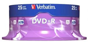 DVD+R Verbatim SL 16X 4.7GB 25PK Spindle Matt Silver