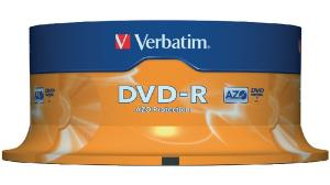 DVD-R Verbatim SL 16X 4.7GB 25PK Spindle Matt Silver