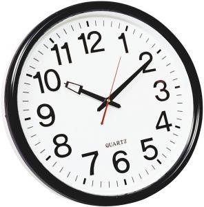 Ceas de perete, D-37.5 cm, cifre arabe, cadran alba, rama plastic neagra, Q-Connect Wels