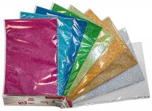 Spuma EVA decorativa A4, grosime 2.5mm, super glitter, 12 culori/set, GIMBOO - culori asortate