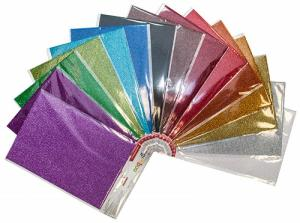 Carton decorativ A4, 264gr/mp, super glitter, 17 culori/set, GIMBOO - culori asortate