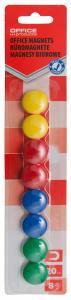 Magneti forma rotunda, diametru 20mm, 8 buc/blister, Office Products - culori asortate