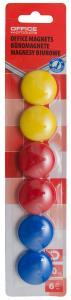 Magneti forma rotunda, diametru 30mm, 6 buc/blister, Office Products - culori asortate