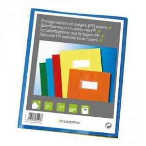 Coperta PP - 120 microni, cu eticheta, pentru caiet A5, 5 buc/set, AURORA - culori asortate