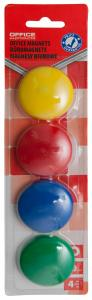 Magneti forma rotunda, diametru 40mm, 4 buc/blister, Office Products - culori asortate