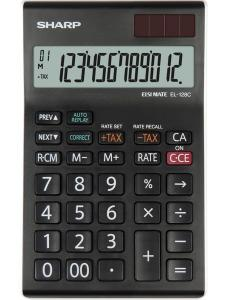 Calculator de birou, 12 digits, 155 x 97 x 12 mm, dual power, SHARP EL-128CWH - negru/alb