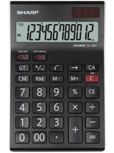 Calculator de birou, 12 digits, 176 x 112 x 13 mm, dual power, SHARP EL-125TWH - negru/alb
