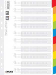 Separatoare carton alb cu margine color, A4, 170g/mp, 10 culori/set, Office Producs