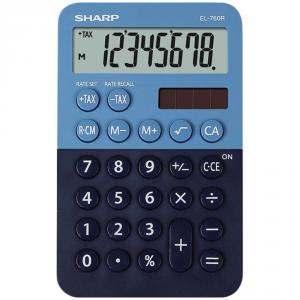 Calculator de buzunar, 8 digits, 119 x 75 x 17 mm, dual power, SHARP EL-760R-BL - albastru/bleumarin