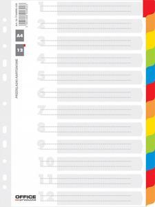 Separatoare carton alb cu margine color, A4, 170g/mp, 12 culori/set, Office Products