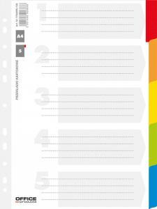 Separatoare carton alb cu margine color, A4, 170g/mp, 5 culori/set, Office Products