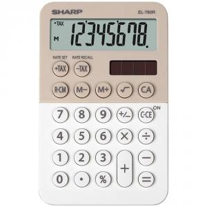 Calculator de buzunar, 8 digits, 119 x 75 x 17 mm, dual power, SHARP EL-760R-LA - bej/alb