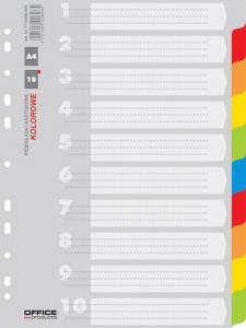 Separatoare carton color, A4, 170g/mp, 10 culori/set, Office Products