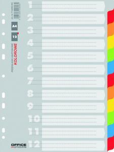 Separatoare carton color, A4, 170g/mp, 12 culori/set, Office Products