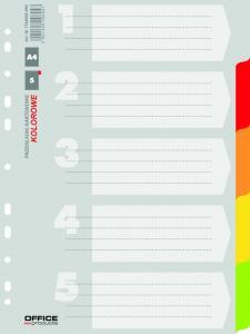 Separatoare carton color, A4, 170g/mp, 5 culori/set, Office Products