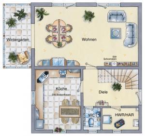 Casa din caramida.Casa cu sera 118 - parter