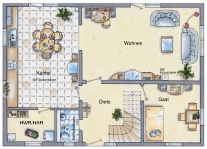 Casa din caramida.Landhaus 142 - parter