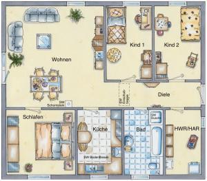 Casa din caramida.Bungalow 92 - varianta cu 4 camere