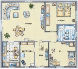 Casa din caramida.Bungalow 92 - varianta cu 3 camere
