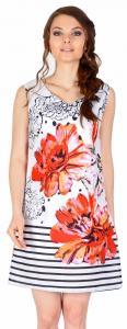 Rochie casual alba cu flori rosii si dungi 17930R