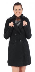 Palton dama cu guler de blana negru 5311