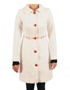 Palton alb cu broderie 6826A