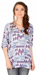Bluza casual alba cu imprimeu romburi D904
