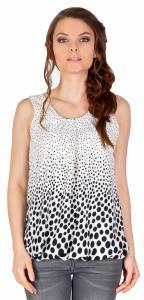 Bluza casual alba cu buline si funda spate 14105A