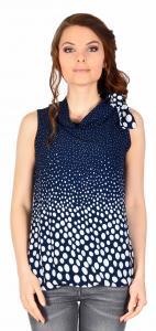 Bluza casual bleumarin cu buline si funda umar 14046BM