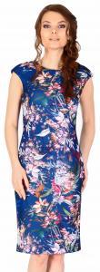 Rochie casual bleumarin scurta cu imprimeu hawai 2852BM