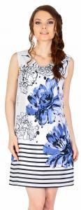 Rochie casual alba cu flori albastre si dungi 17930BM