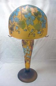Galle glass big lamp clematis flowers